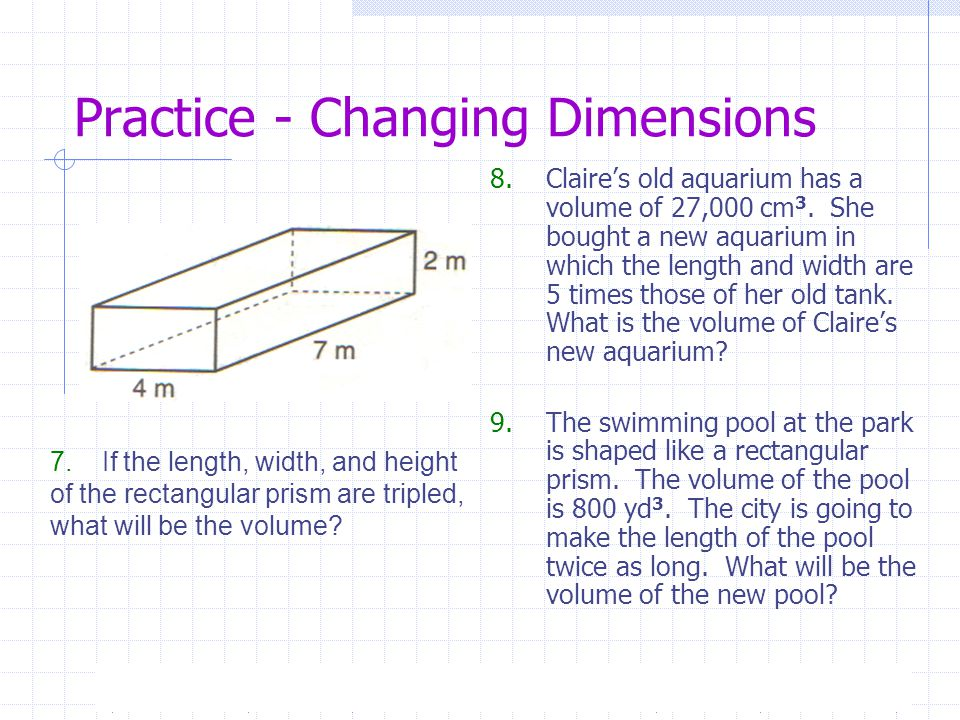 Measurement Perimeter Area And Volume Changing Dimensions 4 15 Ppt Video Online Download