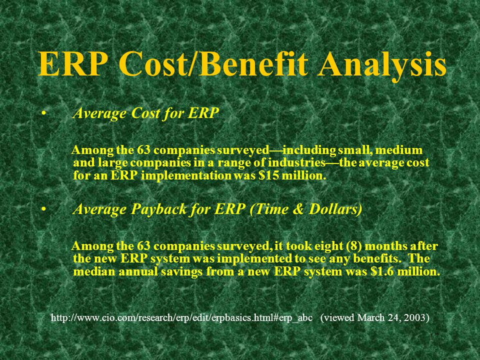 Sap implementation cost benefit analysis