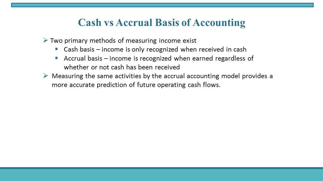accrual and cash accounting 2 essay Explain the difference between the accrual basis of accounting and the cash basis of accounting what are the major reasons for using accrual accounting.
