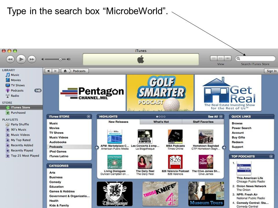 Type in the search box MicrobeWorld .