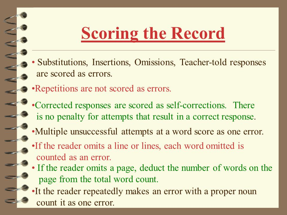 Scoring the Record Substitutions, Insertions, Omissions, Teacher-told responses. are scored as errors.