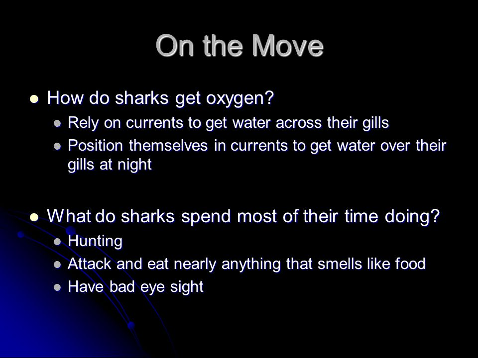On the Move How do sharks get oxygen