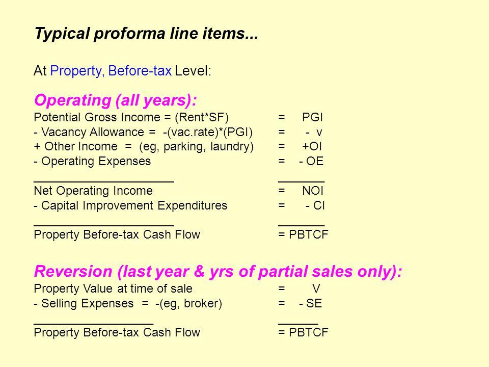 rental property proforma
