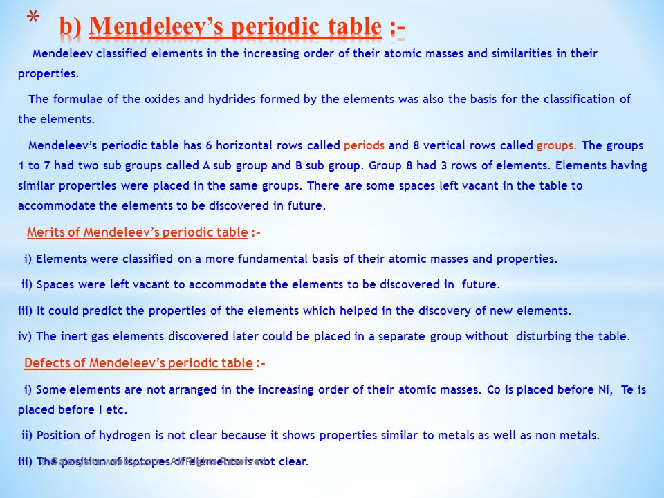 Periodic Table mendeleevs periodic table helped predict properties of : CHAPTER - 5 PERIODIC CLASSIFICATION OF ELEMENTS - ppt video online ...