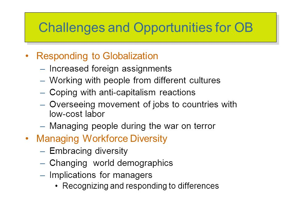 challenges and opportunities of ob Organizational behavior is the study of the way people interact within groups.
