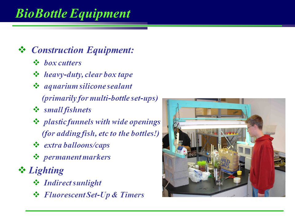 BioBottle Equipment Construction Equipment: Lighting box cutters