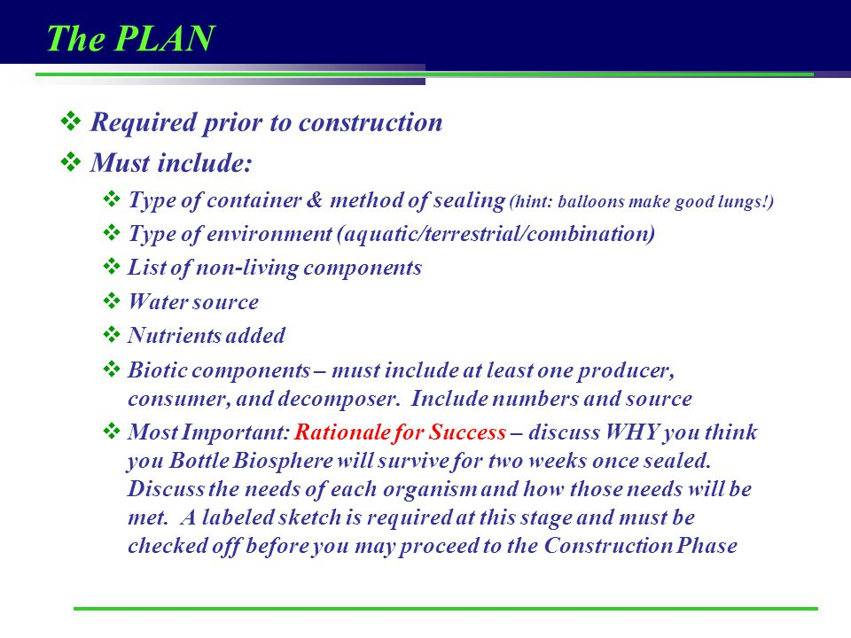 The PLAN Required prior to construction Must include: