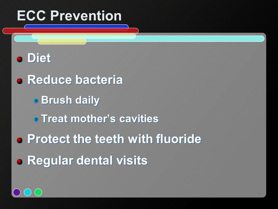 ECC Prevention Diet Reduce bacteria Protect the teeth with fluoride
