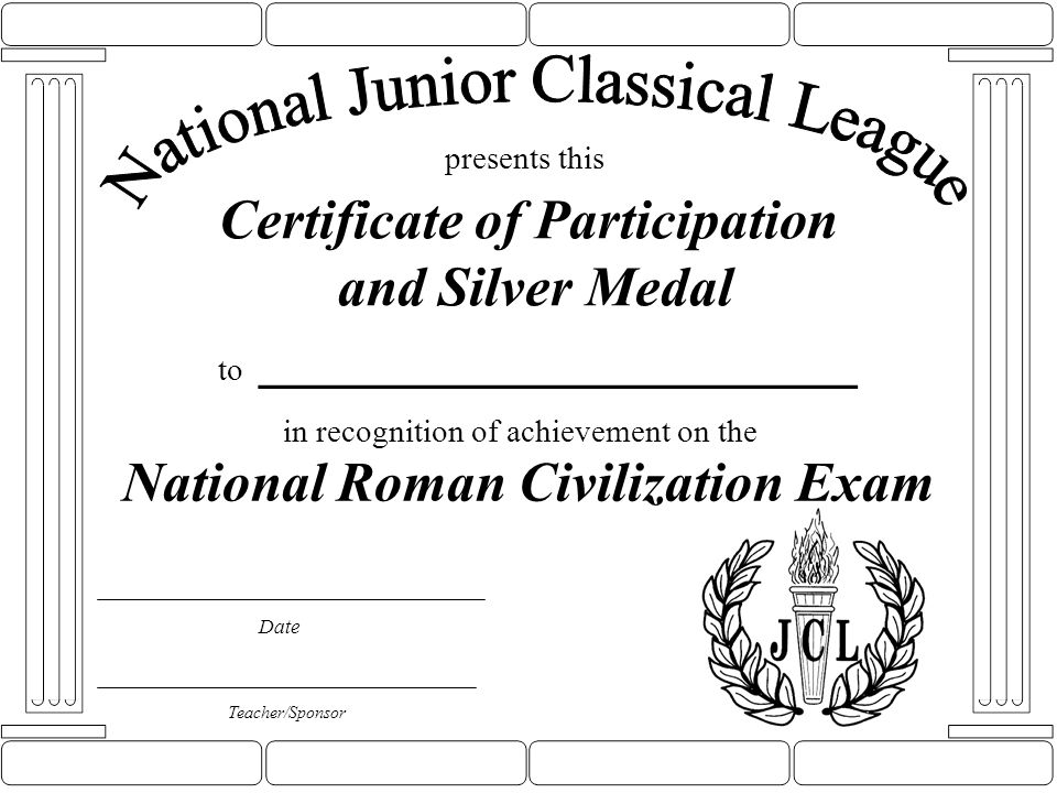 Certificate of Participation and Silver Medal