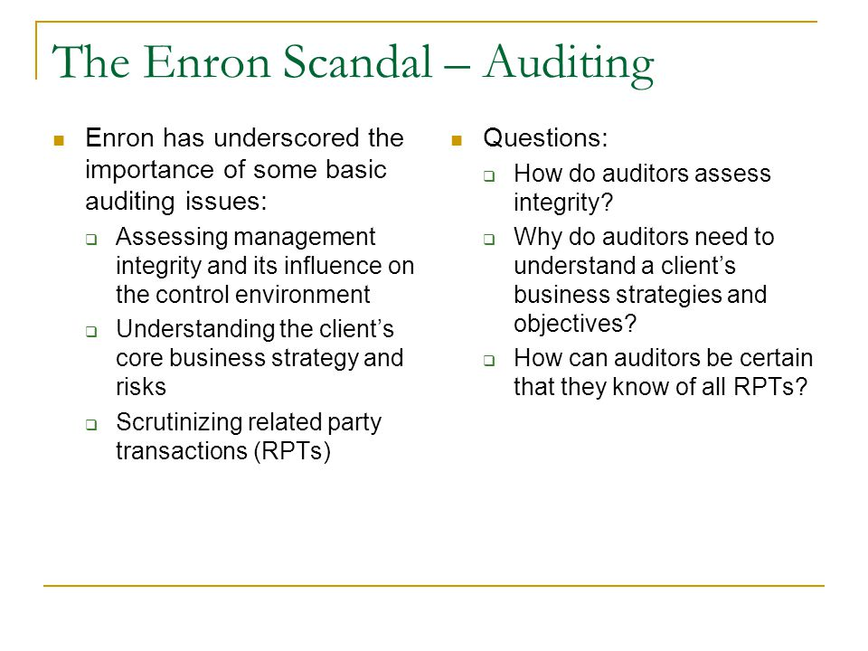 the enron scandal essay Enron scandal enron corporation is an energy based corporation in houston texas (usa)it was formed in 1985 by kenneth that employed around 21,000 people.
