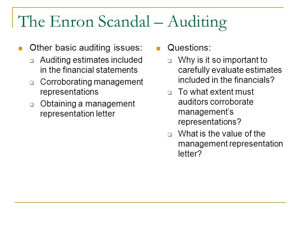 auditing issues in enron's case The embattled auditing firm, already reeling from its role in the enron crash, wasted no time in distancing itself from worldcom, which had recently hired new auditors.