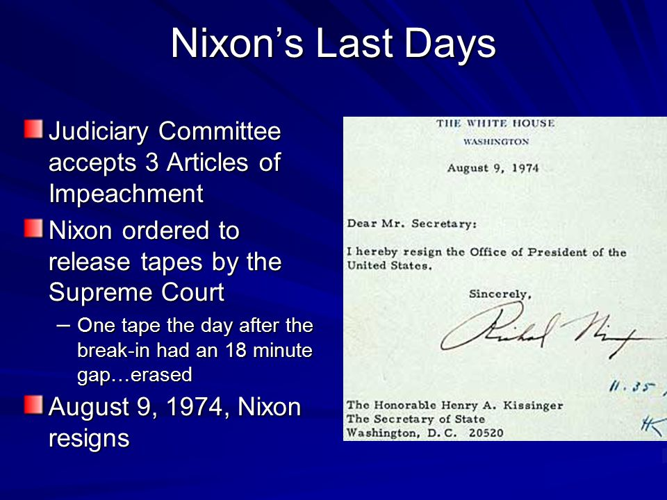 Watergate President Richard Nixon's involvement in the ...