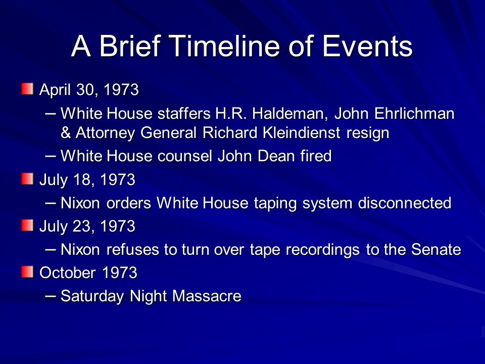 watergate scandal timeline November, 1971, caulfield told tony ulasewicz that dean wants him to check out the democratic national committee offices at the watergate now, on the investigation, you know, the democratic break-in thing, we're back to the problem area because the fbi is not under control, because gray doesn't exactly know.