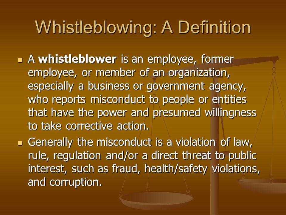 "the definition of whistleblowing The sec indicates that in an effort to resolve this ambiguity, it provided ""two  separate definitions of 'whistleblower'"" that ""apply in different."