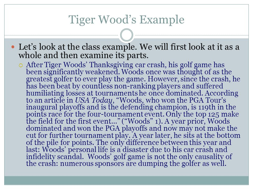 thesis statement on tiger woods Thesis statement on the trinity tiger woods tia mowry i need help on a thesis statement about the trinity and tertullian's view on the trinity.