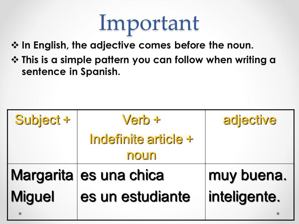 Indefinite article + noun