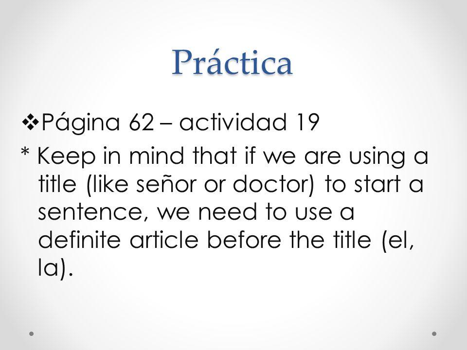 Práctica Página 62 – actividad 19