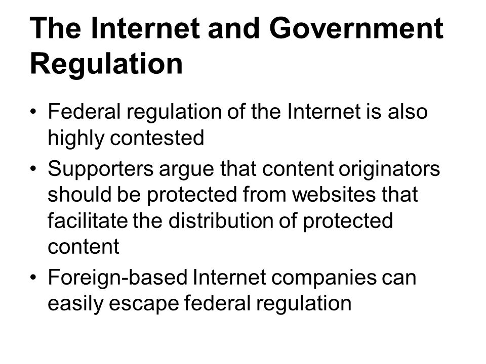 regulation of the internet Ispa's main regulatory activity is in making representations on behalf of the industry to government bodies, such as the home office, the department for business, innovation and skills and ofcom.