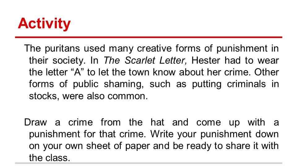 the scarlet letter creative assignment paper