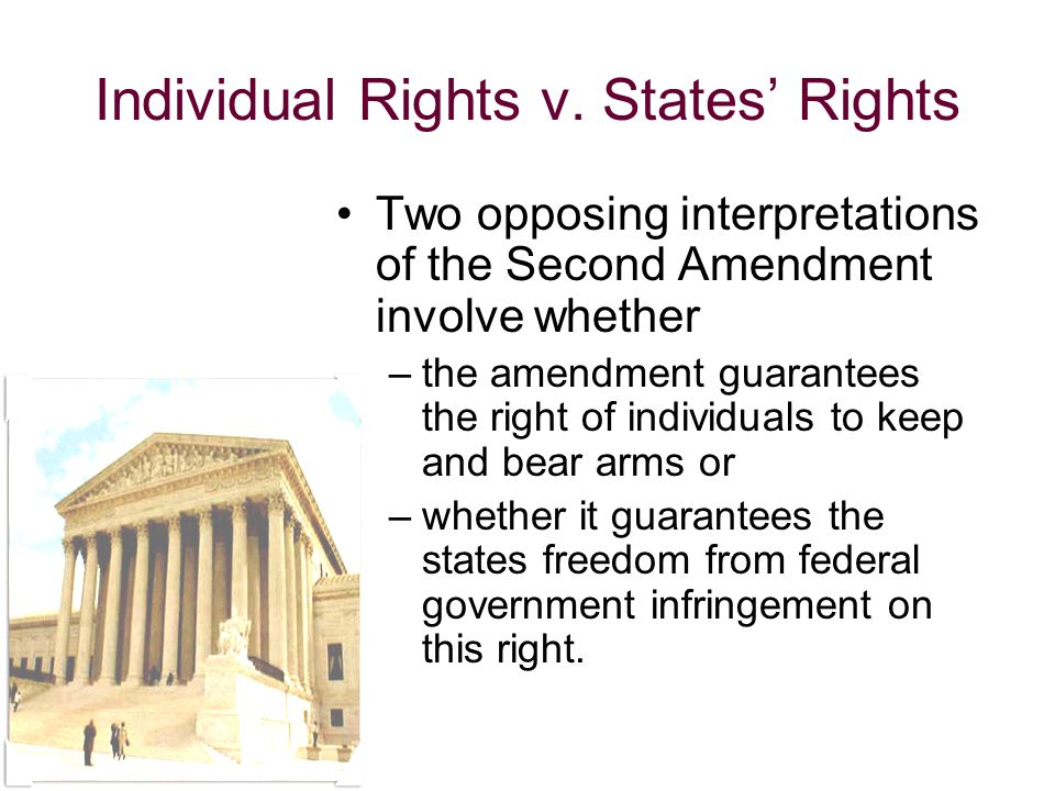 an evaluation of the right of individuals to keep and bear arms according to the second amendment of