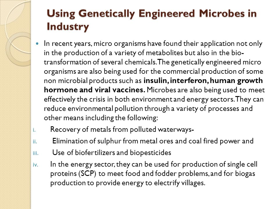 Using Genetically Engineered Microbes in Industry