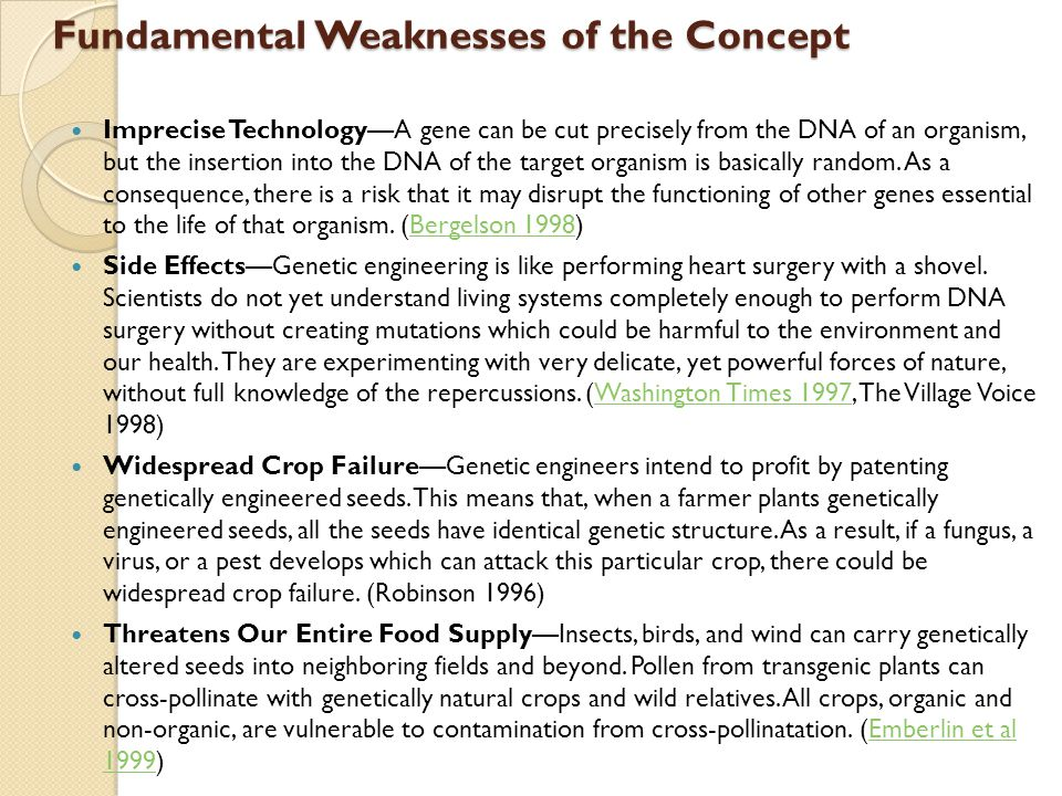 Fundamental Weaknesses of the Concept