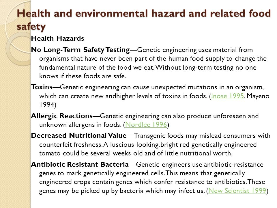 Health and environmental hazard and related food safety