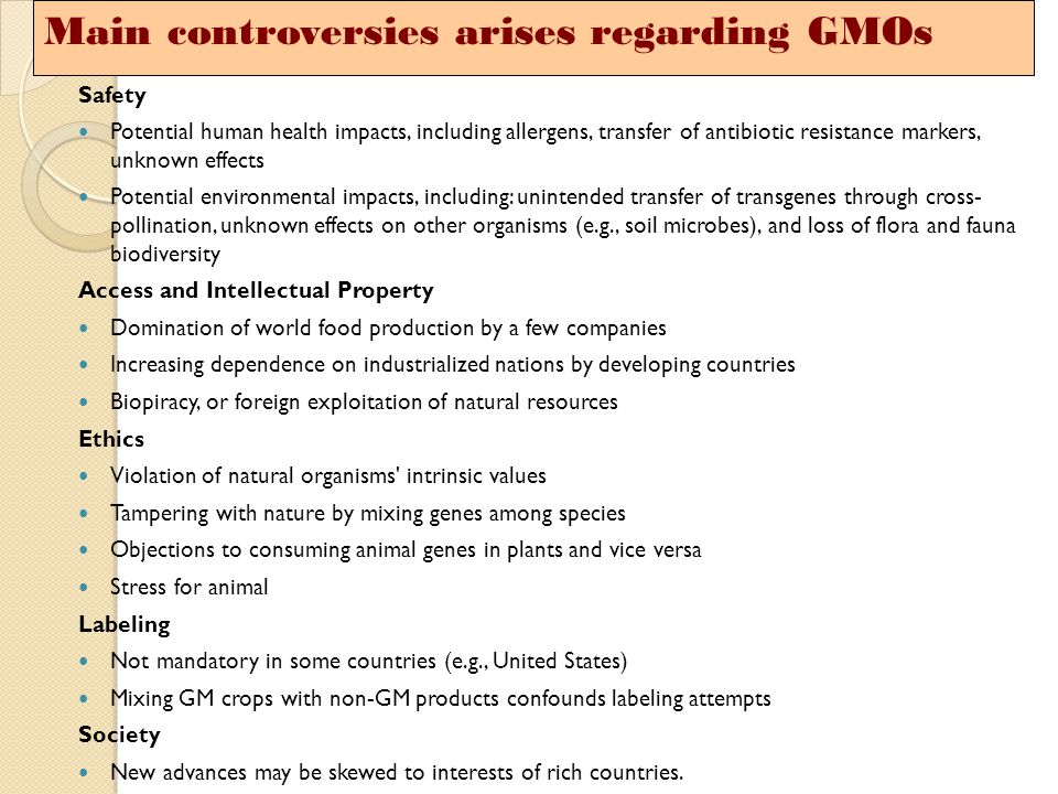 Main controversies arises regarding GMOs