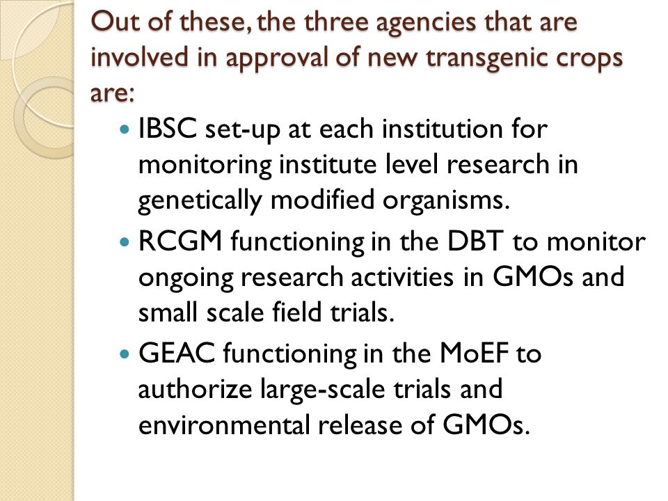 Out of these, the three agencies that are involved in approval of new transgenic crops are: