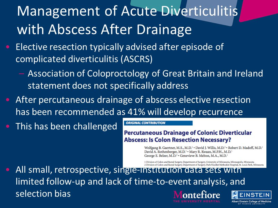acute diverticulitis essay Acute diverticulitis with microperforation did not show a statistically signi cant di erence in rate of readmission when compared to patients diagnosed with acute diverticulitis.