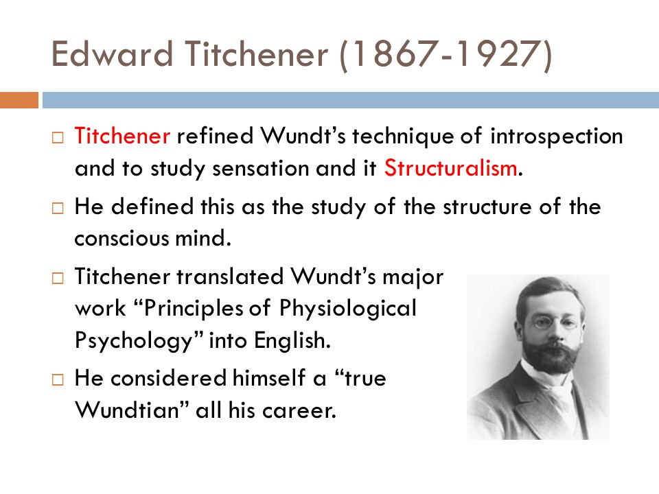 wundt and titchener Wundt was a firm believer in the fact that the mind could be studied effectively by studying the conscious thoughts of a person however, it was his student, edward b titchener who expanded on the ideas that were set forth by wundt and came up with the theory of structuralism as we know of it today.