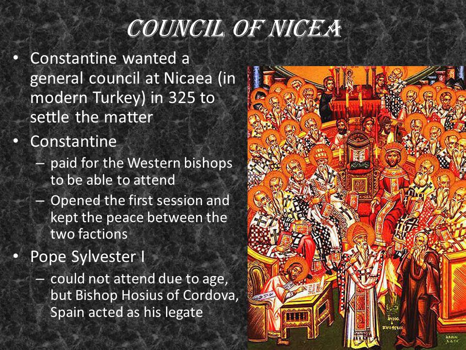 romes constantine and the council of nicea T he council of nicea was convened in 325 ce (ad) by constantine, emperor of the roman empire constantine, a worshipper of the 'sun-god,' technically 'converted' to.