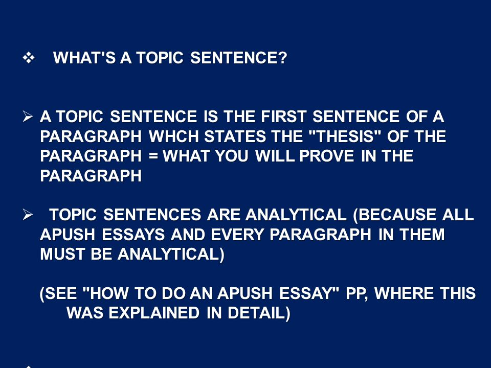 what is a topic sentence in an essay