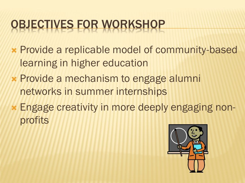 Objectives for workshop