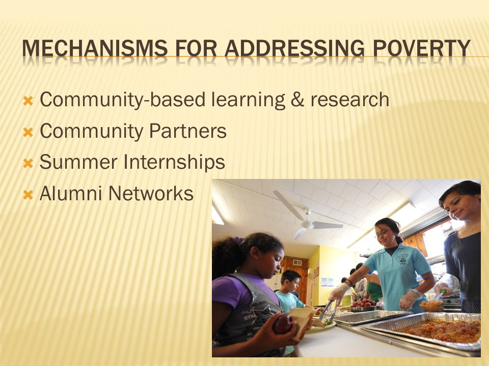 Mechanisms for Addressing poverty