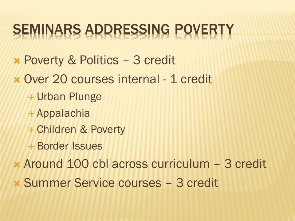 Seminars addressing Poverty