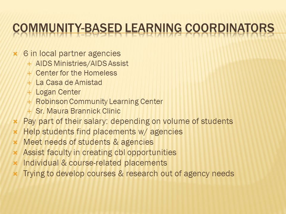 Community-Based Learning Coordinators