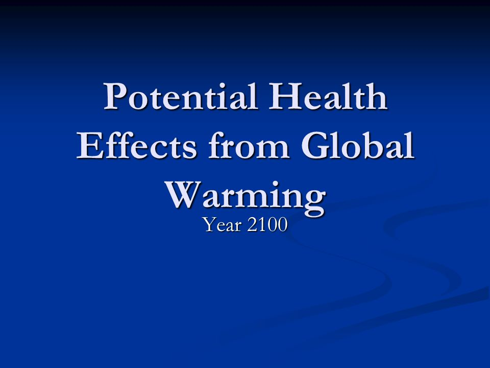 Potential Health Effects from Global Warming