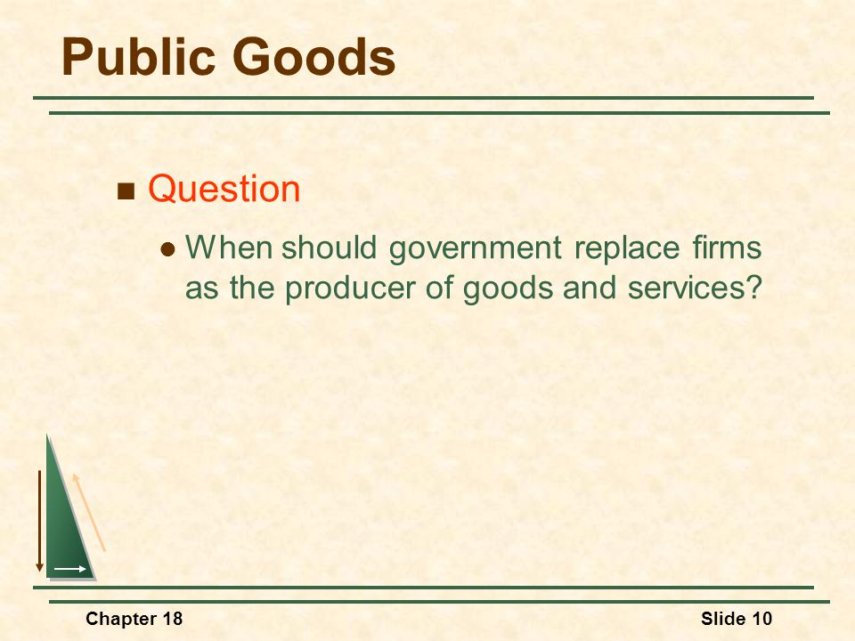 Public Goods Question. When should government replace firms as the producer of goods and services