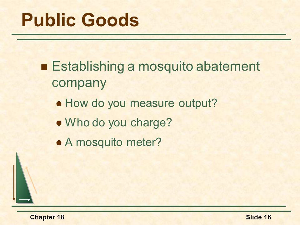 Public Goods Establishing a mosquito abatement company