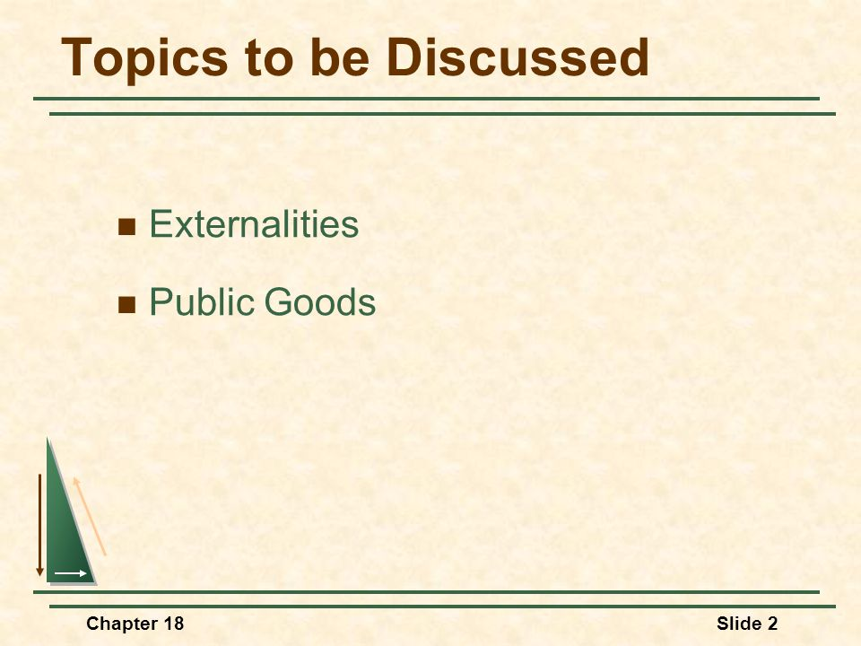 Topics to be Discussed Externalities Public Goods Chapter 18 2
