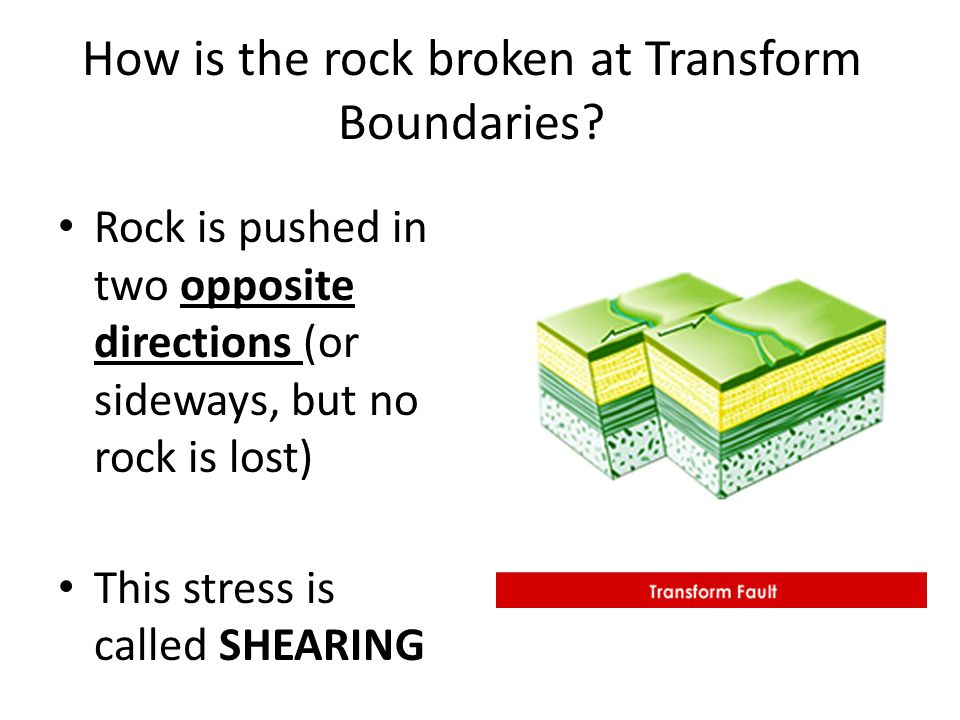 How is the rock broken at Transform Boundaries