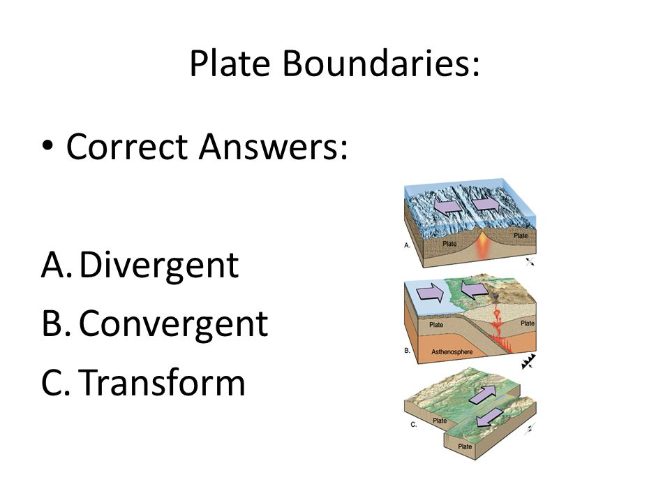 Plate Boundaries: Correct Answers: Divergent Convergent Transform