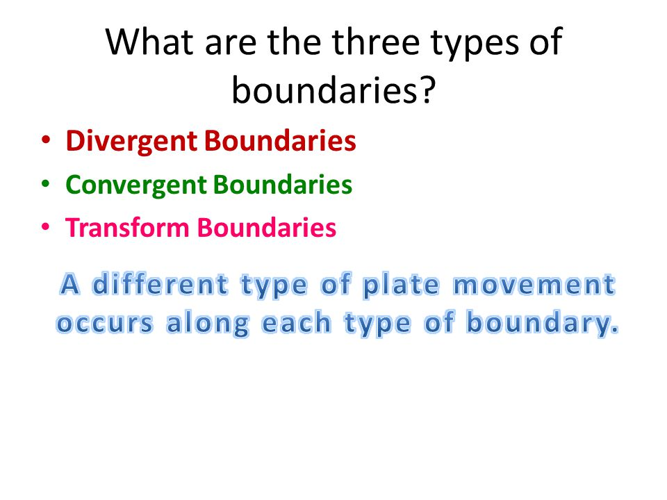 What are the three types of boundaries