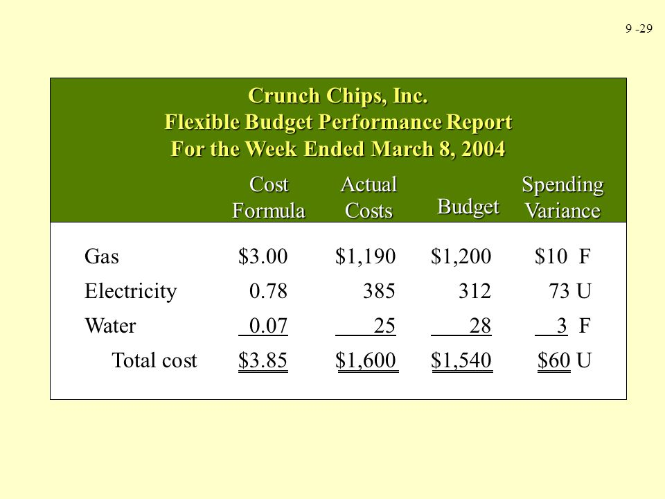 Flexible Budget Performance Report For the Week Ended March 8, 2004