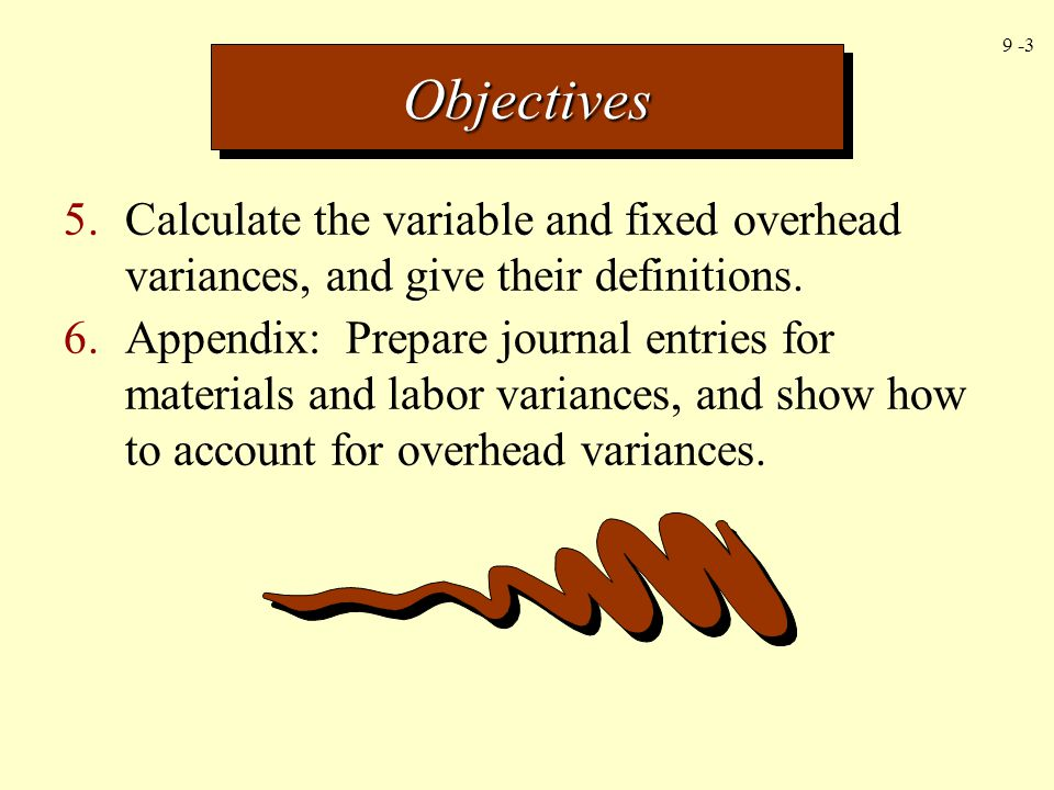 Objectives 5. Calculate the variable and fixed overhead variances, and give their definitions.