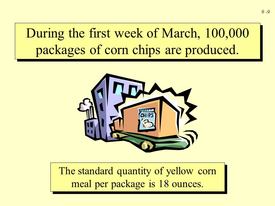 The standard quantity of yellow corn meal per package is 18 ounces.