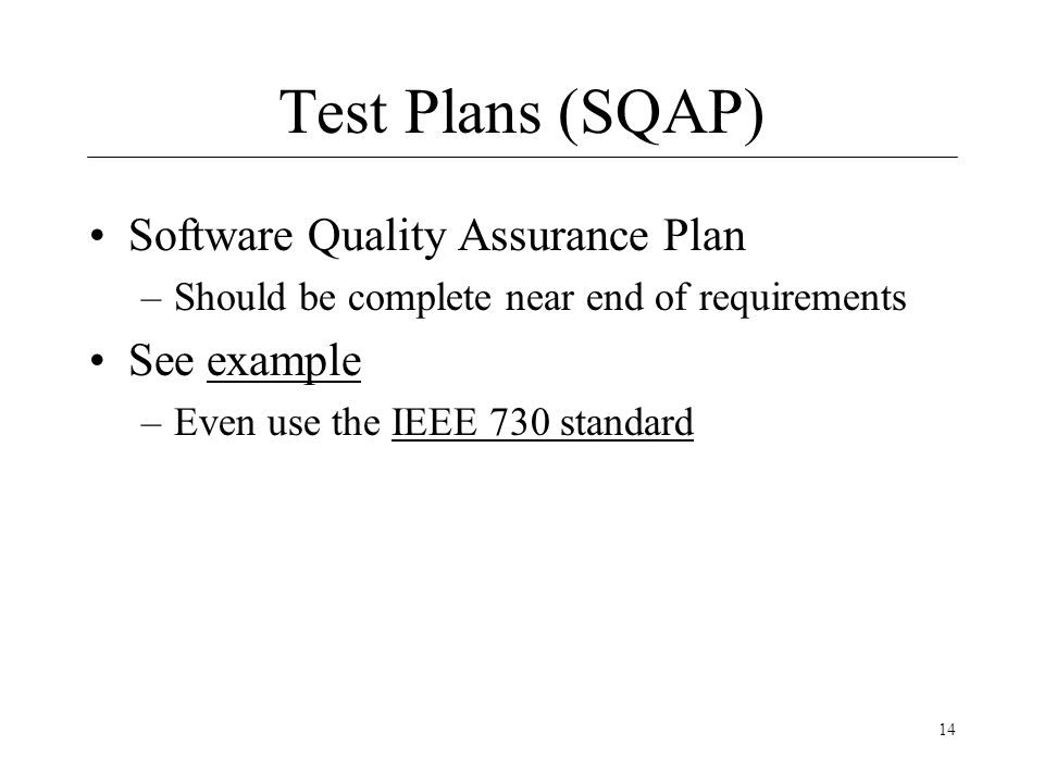 quality assurance plan example