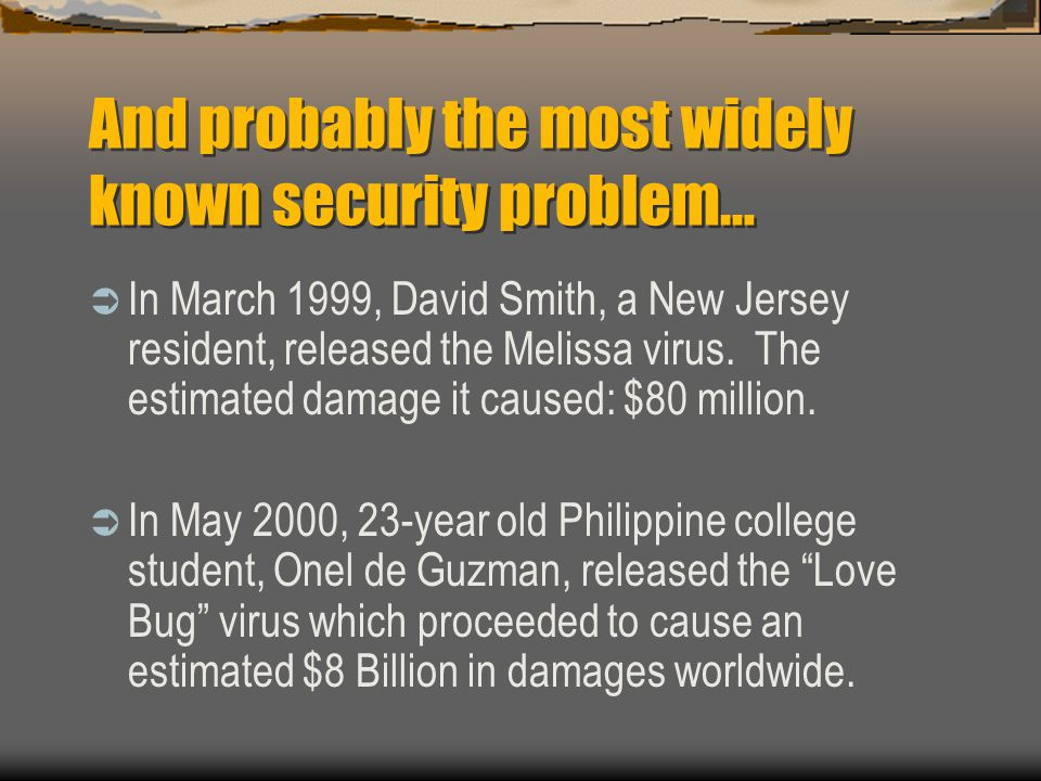the damage caused by the melissa virus Top 10 most deadly computer virus in the world  melissa melissa virus was  the world had not yet recovered from the damage caused by the iloveyou virus when .