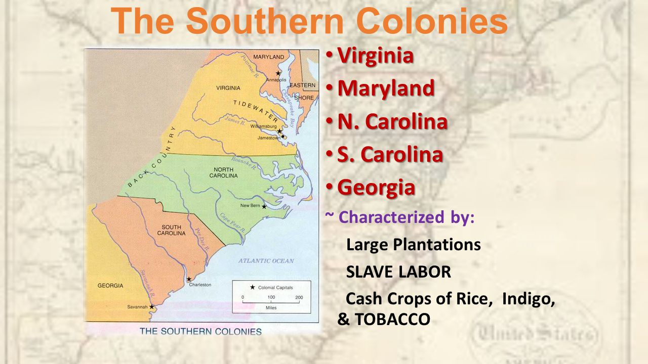 Bell ringer sit with the colony you ended last class period the southern colonies virginia maryland n carolina s carolina sciox Gallery